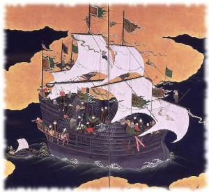 A Portuguese Nanban carrack, Japanese painting from the 17th century.